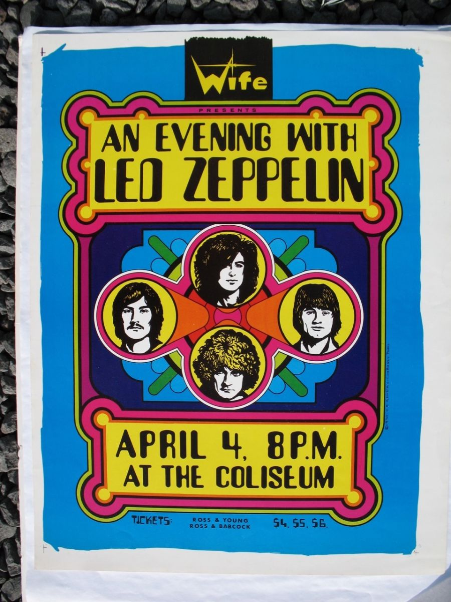 led zeppelin rare concert posters of the 60 39 s and 70 39 s postergeist. Black Bedroom Furniture Sets. Home Design Ideas